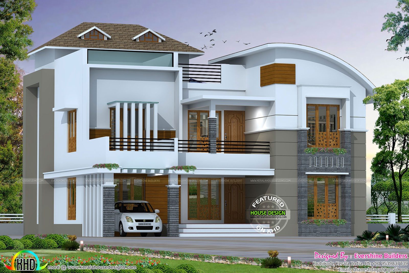 4 Bedroom Curved Roof Mix Contemporary Home Part - 15: Square Feet Details. Ground Floor : 1636 Sq.Ft. First Floor : 1290 Sq.Ft.  Total Area : 2926 Sq.Ft. No. Of Bedrooms : 4. Design Style : Mixed Roof Mix