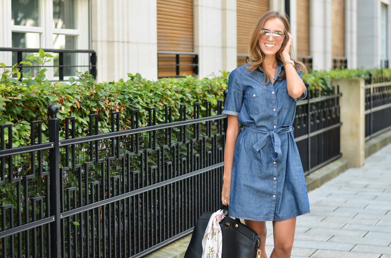 kristjaana mere lindex denim dress mango sunglasses fall trend