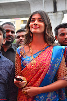 Puja Hegde looks stunning in Red saree at launch of Anutex shopping mall ~ Celebrities Galleries 094.JPG