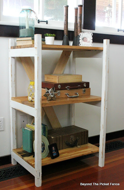 ladder shelf, DIY, build it, barnwood, reclaimed wood, http://bec4-beyondthepicketfence.blogspot.com/2016/04/easy-ladder-shelf.html