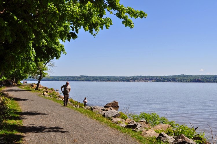Looking Northeast Across The River Towards Ossining Fisherman Fishing In Hudson