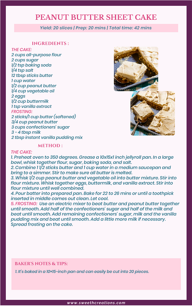 PEANUT BUTTER SHEET CAKE RECIPE