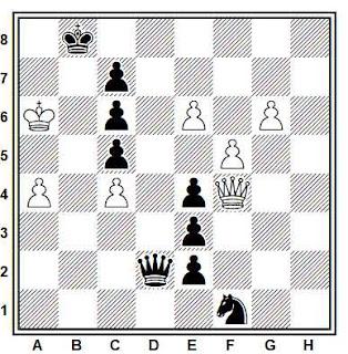 Estudio artístico de ajedrez compuesto por V. Korolkov y L. Mitrofanov (1º-2º Premio, Revista de Sah 1957)