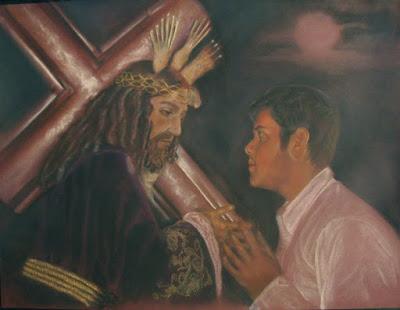 Cuadro a pastel de cristo con fiel
