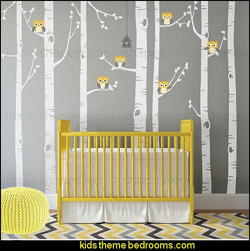 birch tree wall decals, six owls and a bird house