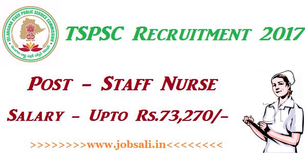 TSPSC Staff Nurse Recruitment 2017, Govt Nursing Jobs in Telangana, Telangana Staff Nurse jobs