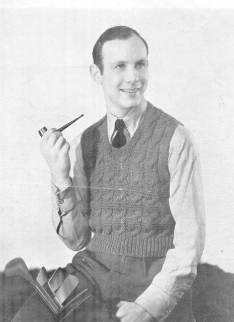 The Vintage Pattern Files: Free 1930s Knitting Pattern - Men's Golf Pullover & Polo Sweater