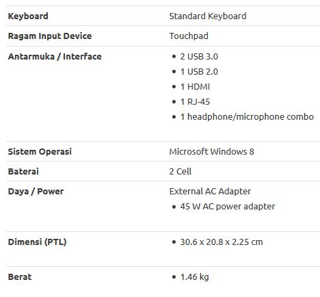 Spesifikasi HP Pavilion x360 11-K027TU