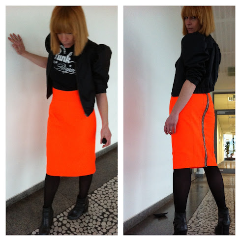 pencil skirt neonorange