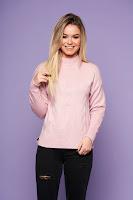 Pulover SunShine roz prafuit casual cu croi larg din material tricotat