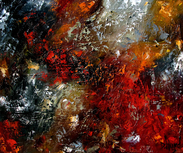 Orange and Black Abstract Art Paintings
