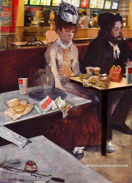 fotomontaggi di quadri classici-L'assenzio di Degas