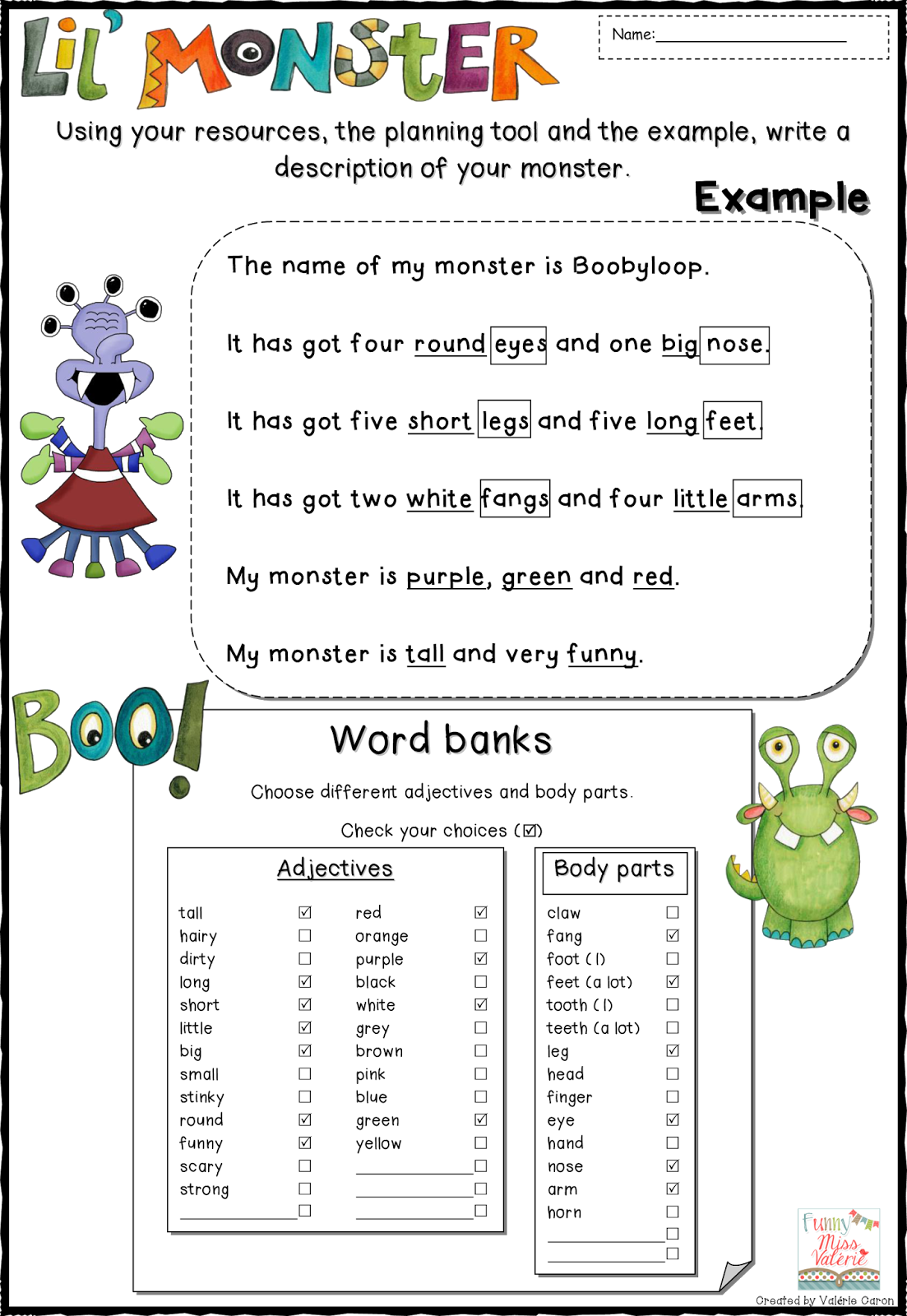 Funny Miss Valerie Monsters And Body Parts