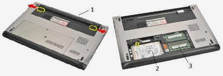 bagian baterai, hardisk dan memory laptop del vostro 131