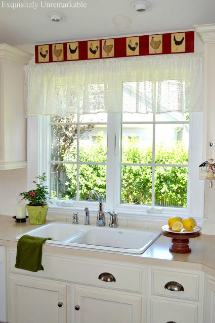 lace valance on kitchen window
