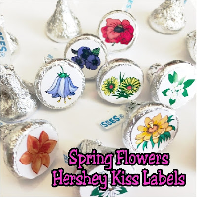 These spring flower Hershey kiss labels are a beautiful gift idea for someone who would love flowers, chocolate, and kisses!  You an give all three in one amazing gift. Simply download and print the free kiss label printable today for a great gift tonight. #chocolate #springflower #hersheykiss #kisslabels #candybarwrappers #diypartymomblog