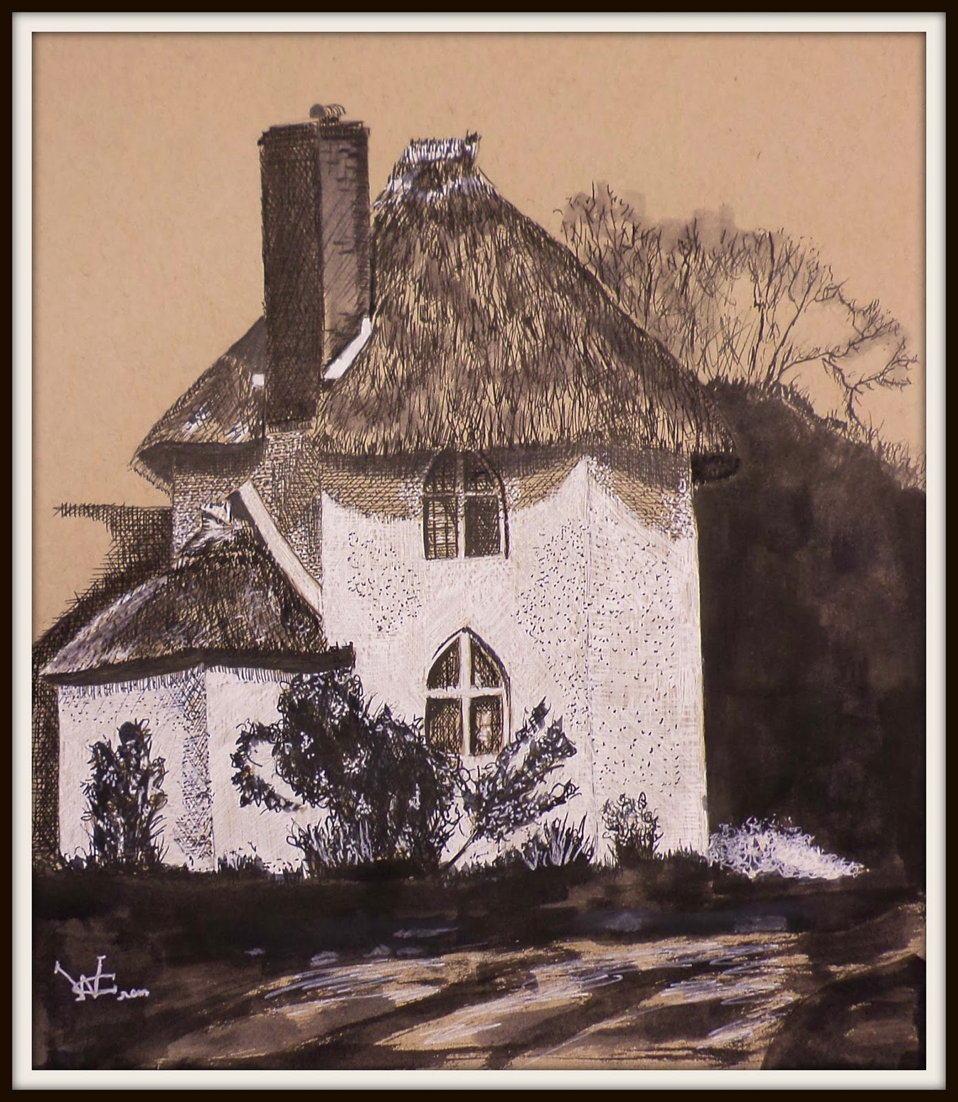 cottage, white gel ink, pen and ink, drawing, ncwren