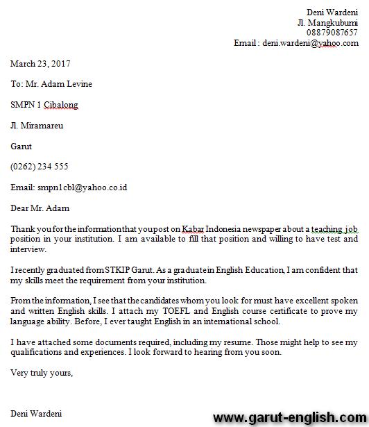 3 Contoh Surat Lamaran Kerja Guru Bahasa Inggris Info Kerja