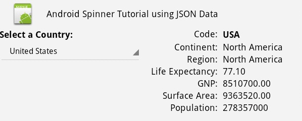 Android spinner example using JSON data from MySQL and Java Servlet