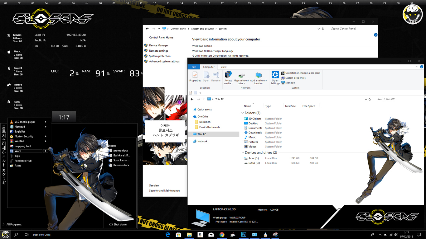 Theme Windows 10 1803 Closers Seha Lee