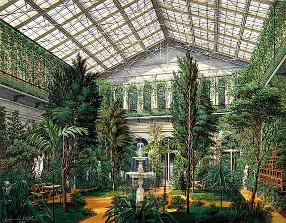 Eduard Hau- Interiors of the Small Hermitage. The Winter Garden 1865