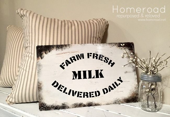 How to Make a Rusty Enamel Farm Fresh Milk Sign