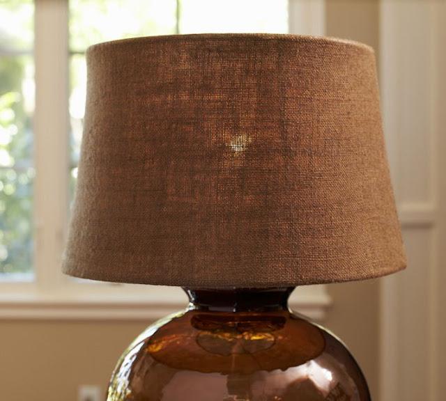 modern garden: thrifty find: burlap lamp shades
