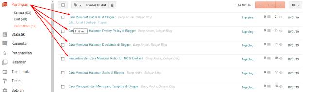 Mengenal Menu-Menu Di Blogger Beserta Fungsinya Dengan Cepat - Menu Postingan Di Blogger