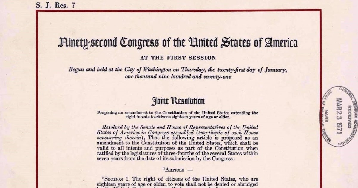 United States Constitution And Citizenship Day 26th Amendment