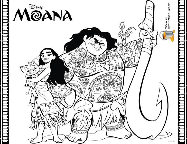 Dibujo Para Colorear De Maui Personaje Película Moana: COLOREA TUS DIBUJOS: MOANA , PUA Y MAUI Para Colorear Y Pintar