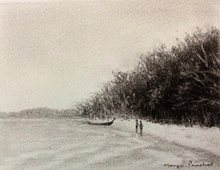 Charcoal sketching study work of a beach from Bamboo island, By Manju Panchal