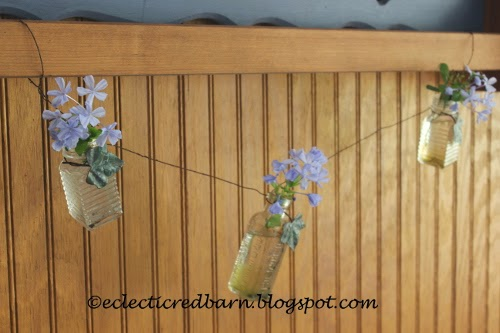 Eclectic Red Barn: A three bottle garland on twisted wire
