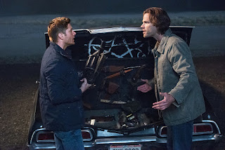 "Jensen Ackles as Dean Winchester and Jared Padalecki as Sam Winchester in Supernatural 12x05 ""The One You've Been Waiting For"""