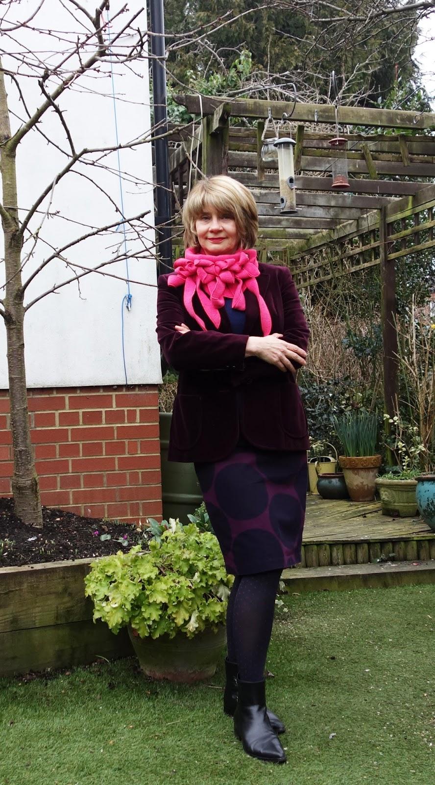 Striking Rew fuchsia scarf worn with burgundy by Gail Hanlon blogger