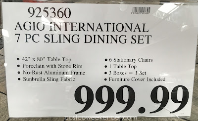 Deal for the Agio International 7 piece Sling Dining Set at Costco