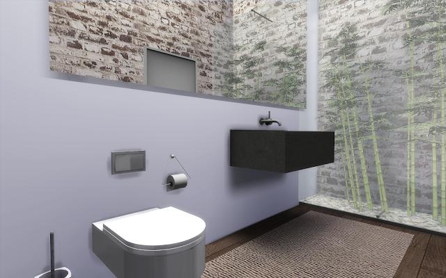 salle de bain pierre et bambou Sims 4