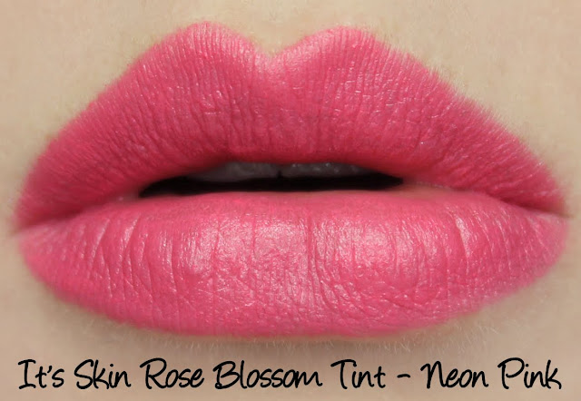 It's Skin Rose Blossom Tint Lipstick - Neon Pink Swatches & Review