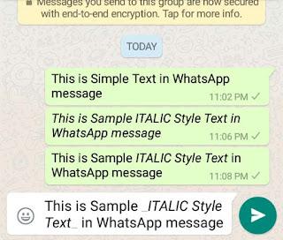Send Bold, Italic and Strikethrough Text on Whatsapp