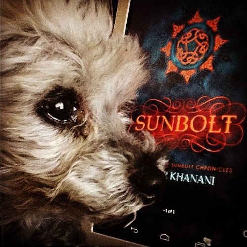 Murchie's face appears very close to the camera, in profile. Behind him is a digital copy of Sunbolt. Its cover features the title and a round mandala in orange against a swirling blue and black background.
