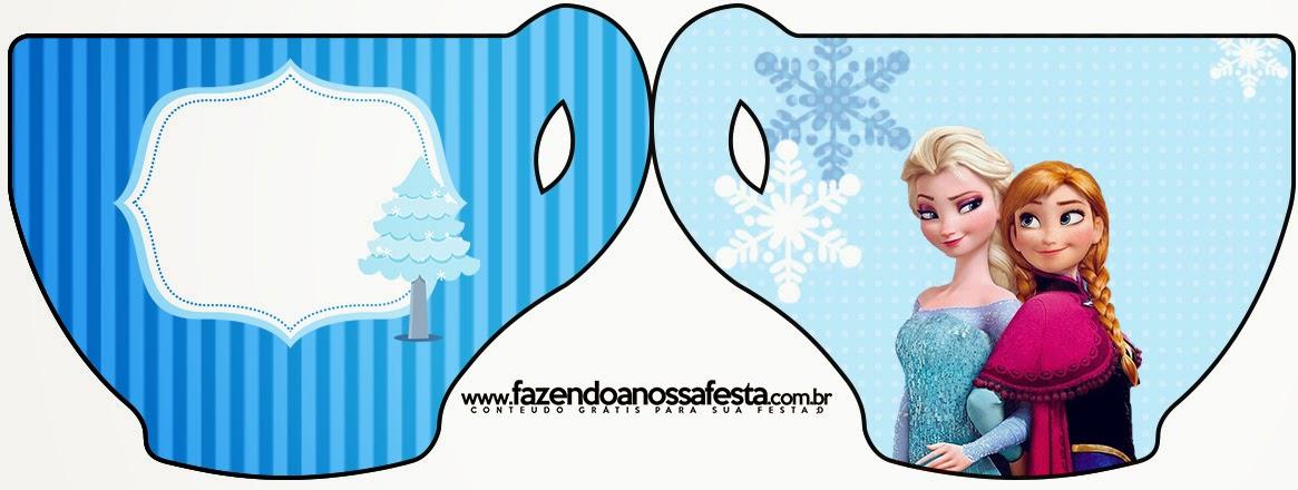 Tarjeta con forma de Taza de Frozen en Navidad Azul.