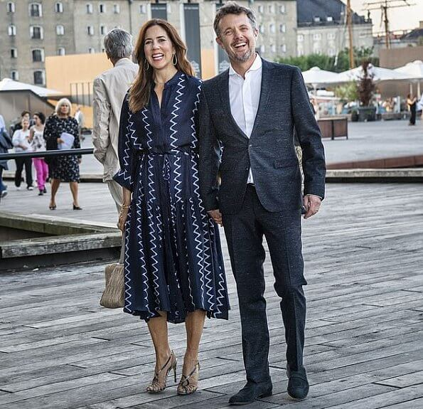 Apiece Apart Dunegrass. Crown Princess Mary wore a zigzag printed shirt dress by Apiece Apart. and Alexandre Birman Braided sandals