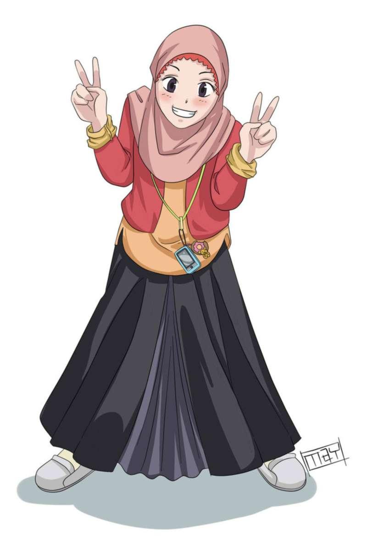Gambar Kartun Muslimah Dan Pasangannya Top Gambar