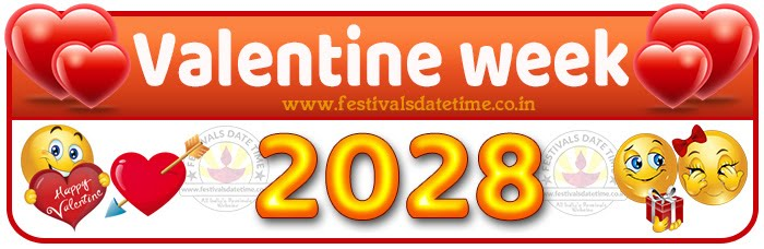 2028 Valentine Week List Calendar, 2028 Valentine Day All Dates & Day