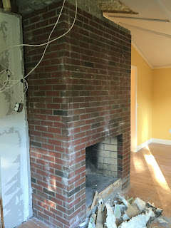 The walls between the office and toy room were completely removed  Now it  looks like where we started a few years ago  Check out what it looked like  before  Hooked on Pinterest  June 2016. Living Room Chimney Removal. Home Design Ideas