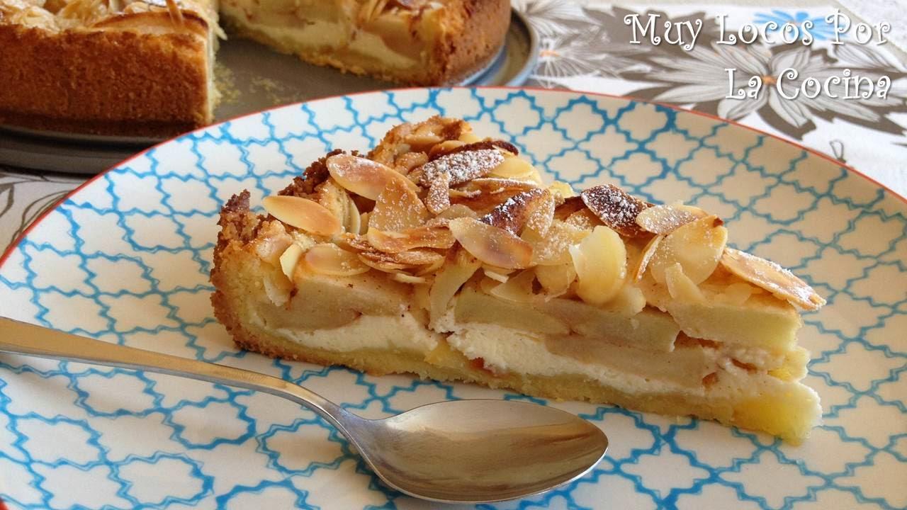 Tarta de Manzanas y Almendras con Relleno de Queso