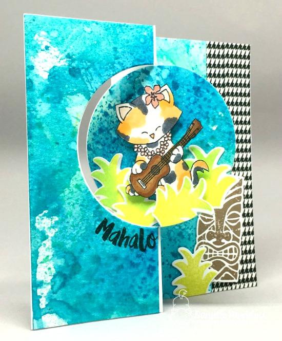 Cat playing ukulele Card by Danielle Pandeline | Aloha Newton Stamp set by Newton's Nook Designs #newtonsnook