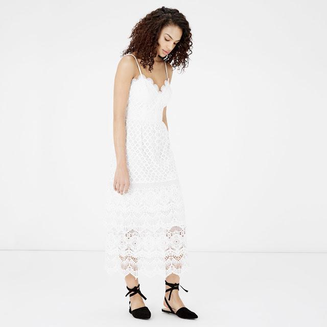 warehouse white scallop dress