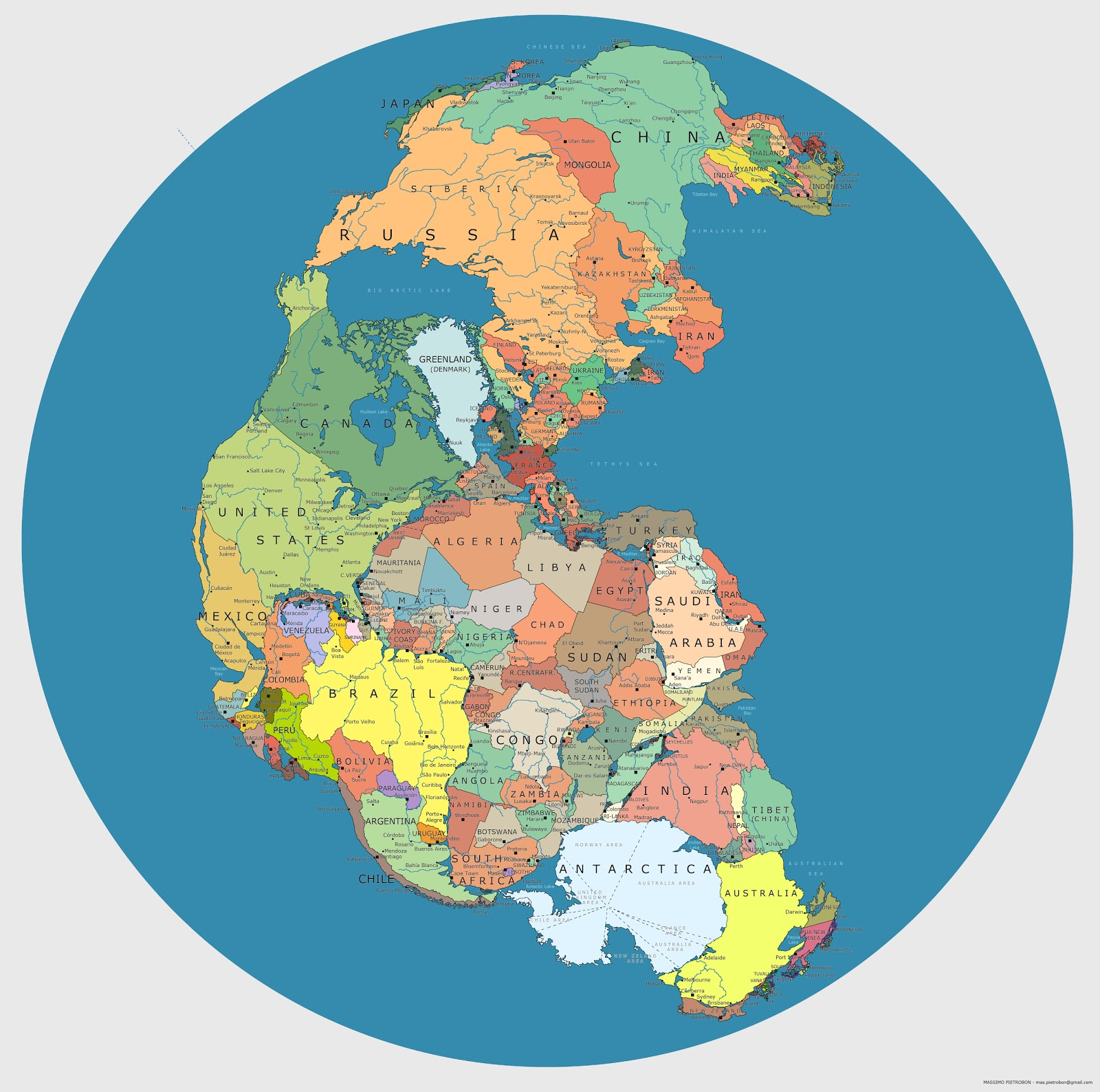 Pangaea With Current International Borders Brilliant Maps