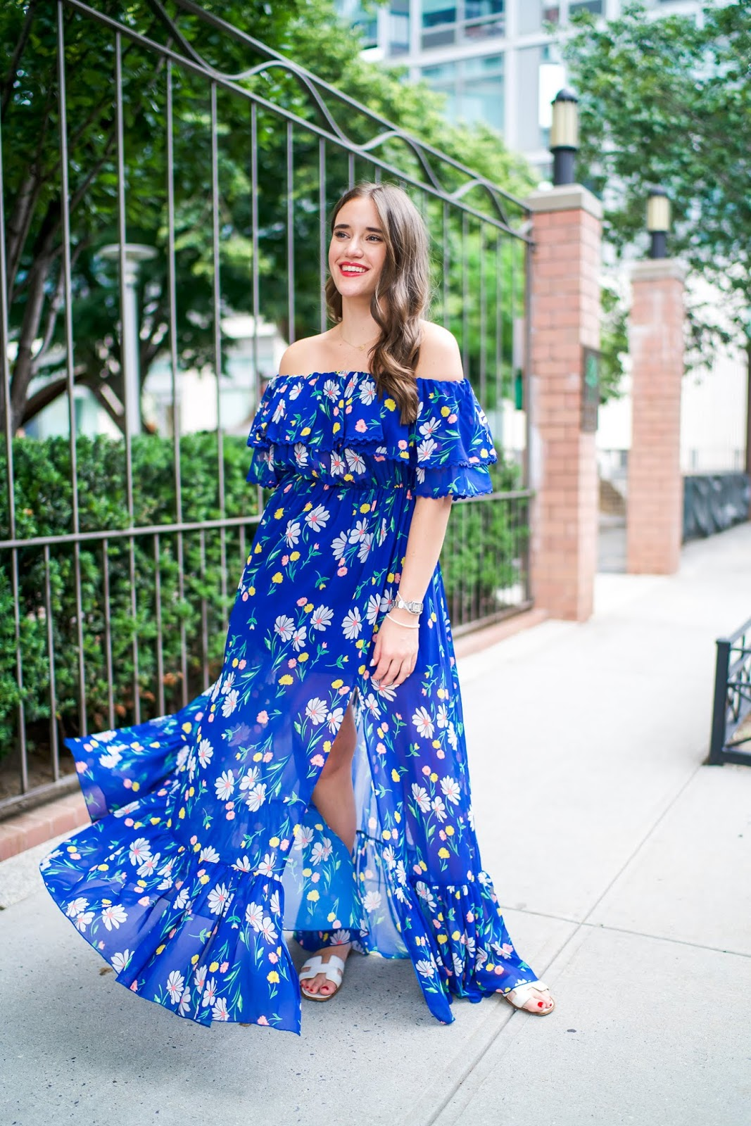 Topshop floral maxi dress styled by popular New York fashion blogger, Covering the Bases