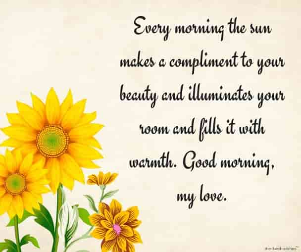 cute good morning text messages for girlfriend with sunflower